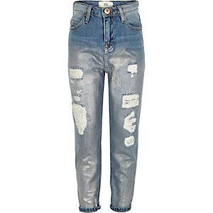 Blauwe holografische denim jeans voor meisjes