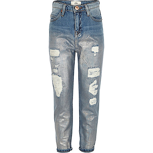 Girls blue holographic girlfriend denim jeans