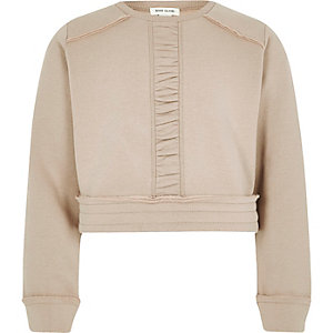 Girls cream ruched panel cropped sweatshirt