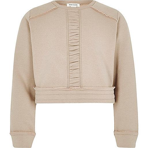 Girls cream ruched panel cropped sweatshirt