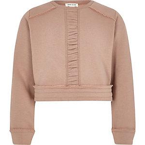 Girls pink ruched panel cropped sweatshirt