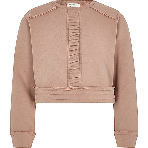 Girls pink ruched panel cropped sweatshirt