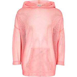 Girls RI Active pink mesh 'move it' hoodie