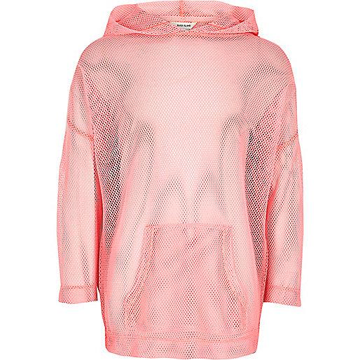 Girls RI Active pink mesh 'move it' hoodie