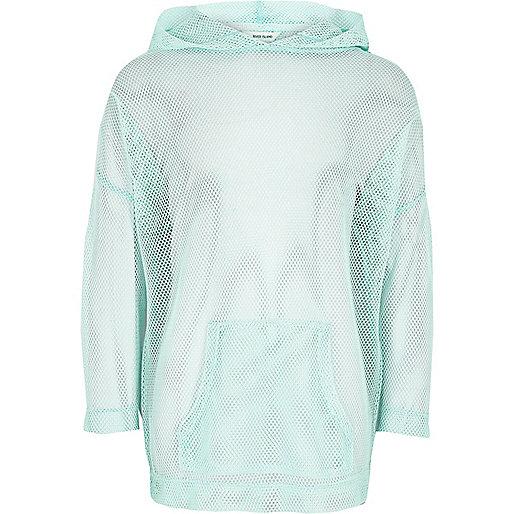 Girls RI Active green 'Move It' mesh hoodie