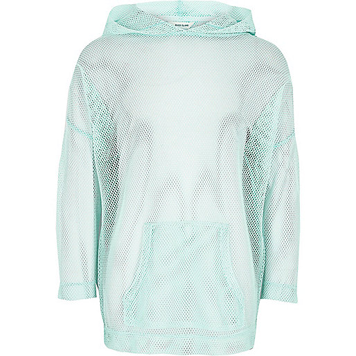 Girls RI Active green 'Move It' mesh hoodie