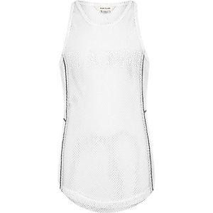 Girls RI Active white mesh embroidered vest