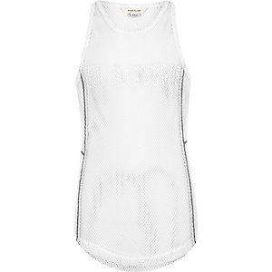Girls RI Active white mesh embroidered tank