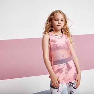 Girls RI Active pink mesh embroidered tank