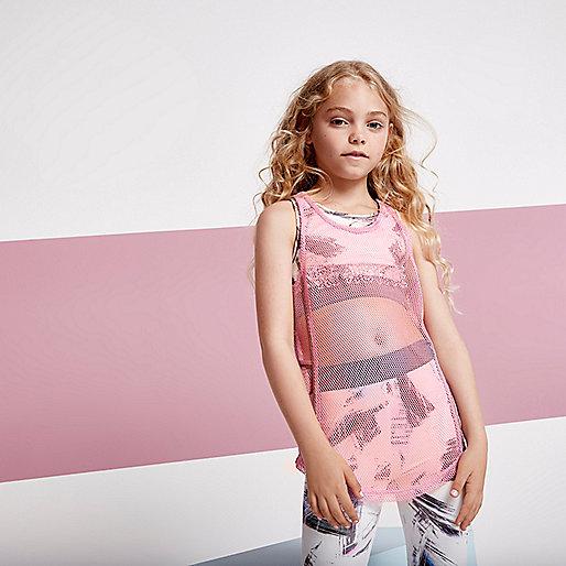 Girls RI Active pink mesh embroidered tank