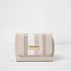 Girls pink stripe panel purse