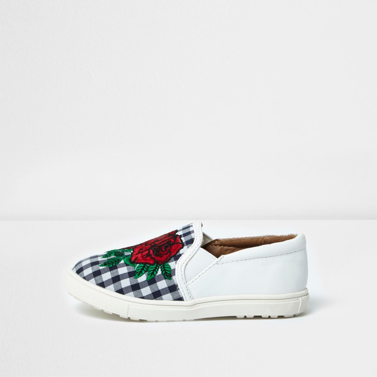 Mini girls white gingham plimsolls