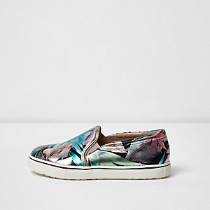 Girls silver tropical print plimsolls