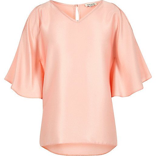 Girls coral cold shoulder frill sleeve top