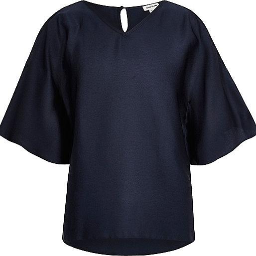 Girls navy cold shoulder kimono sleeve top