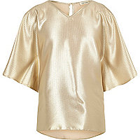 Girls gold metallic cold shoulder top