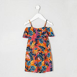 Mini girls tropical leaf print playsuit