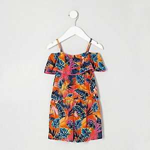 Mini girls tropical leaf print romper