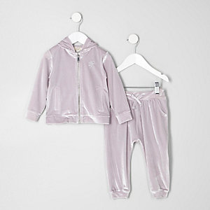 Mini girls silver velour hoodie outfit