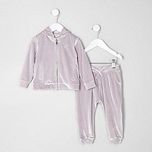 Mini - Outfit met zilverkleurige velours hoodie voor meisjes