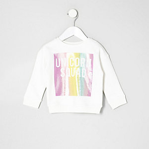 Mini girls white unicorn squad rainbow sweat