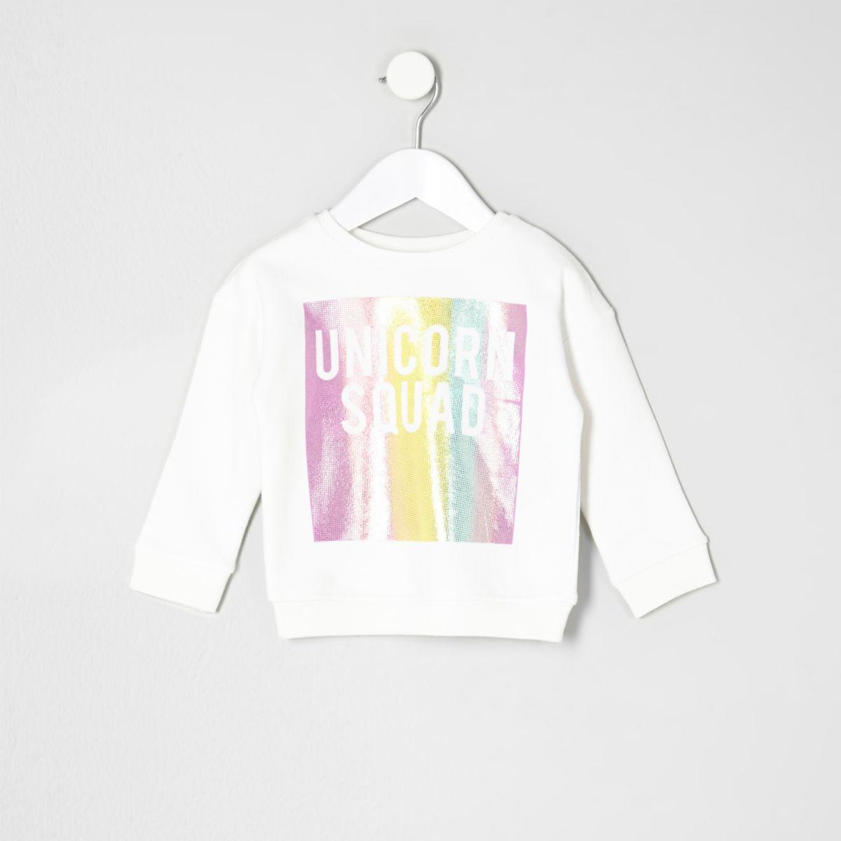 Mini girls white unicorn squad rainbow sweat