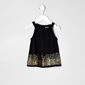 Mini girls black sequin trapeze top