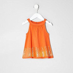 Mini girls orange sequin trapeze top