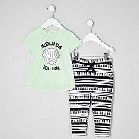 Mini girls mermaid T-shirt and joggers outfit