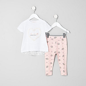 Mini girls white heart T-shirt outfit