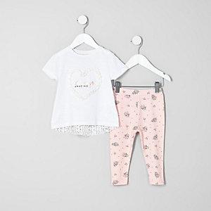 Mini girls white heart T-shirt outfit