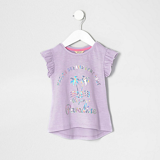 Mini girls foil print frill sleeve T-shirt