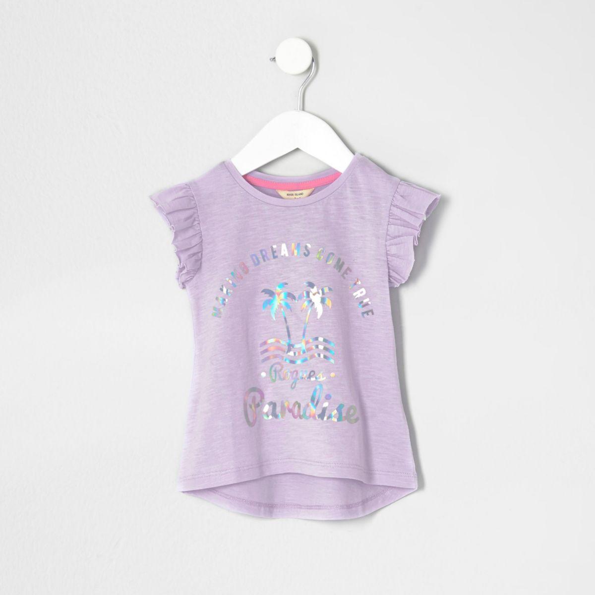 Mini girls foil print frill sleeve T-shirt