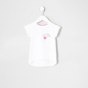 Mini girls pink flamingo pocket frill T-shirt
