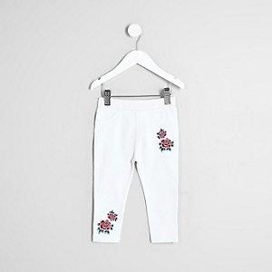 Legging motif rose brodé blanc pour mini fille