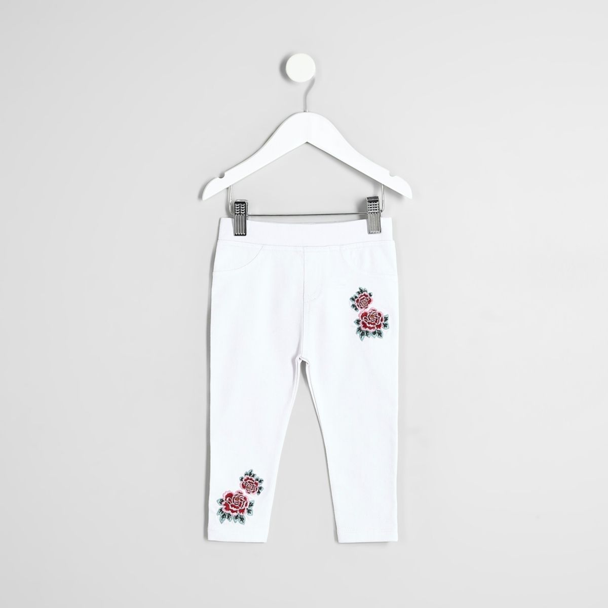 Mini girls white rose embroidered leggings