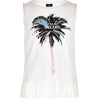 Girls white 'Palm Dreams' sequin tank
