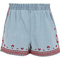 Girls blue embroidered denim shorts