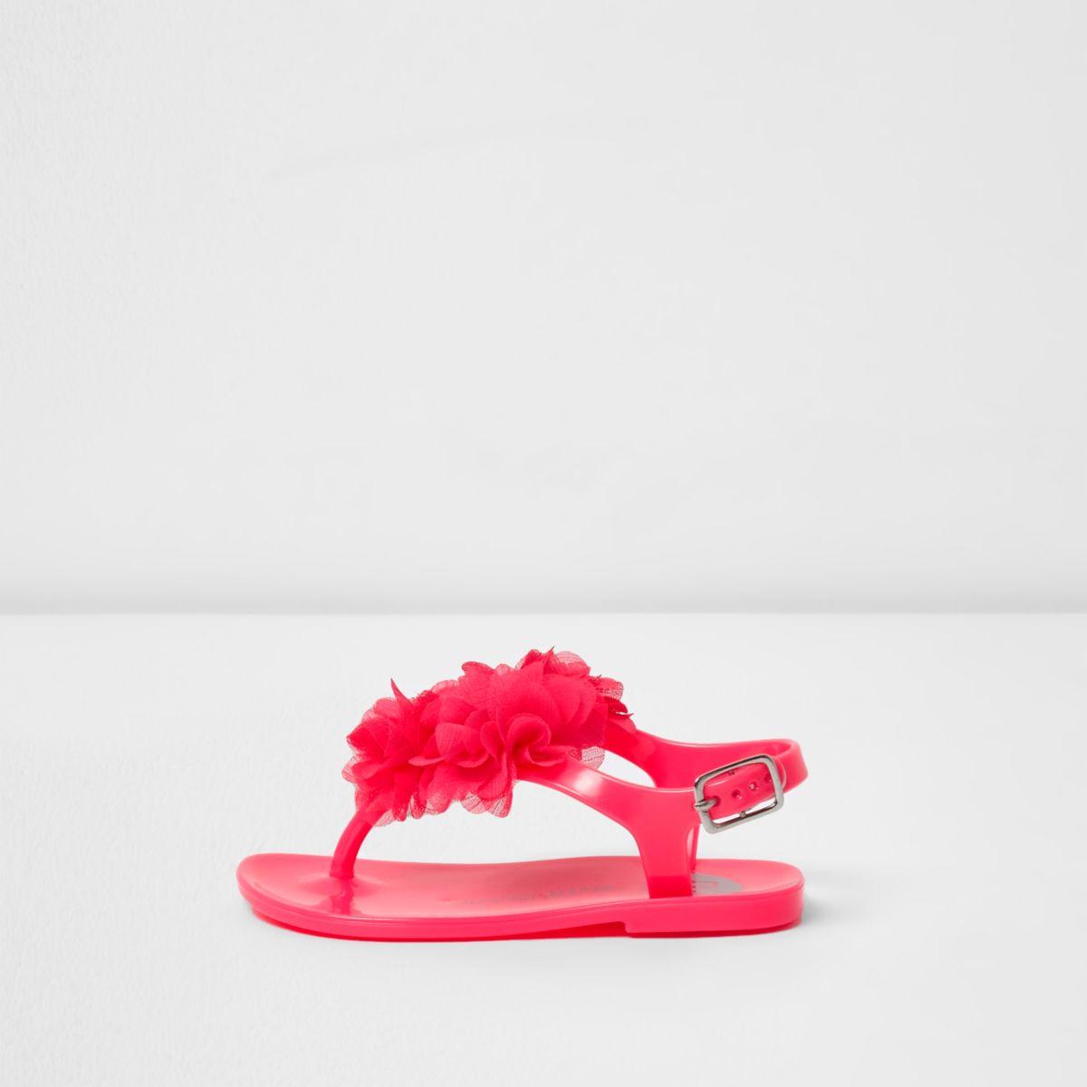 Sandales en plastique roses avec fleurs mini fille