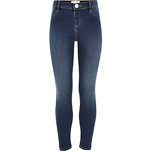 Girls dark blue wash denim Molly jeggings