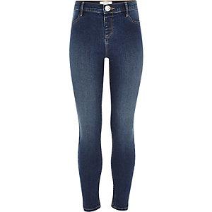 Molly- Jegging en jean bleu foncé délavé pour fille