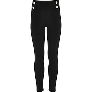 Girls black ponte military leggings