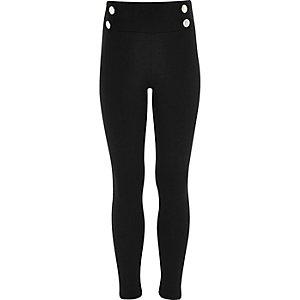 Zwarte legging in legerlook van ponte-stof