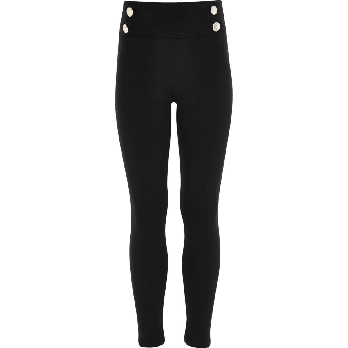Girls black ponte military leggings