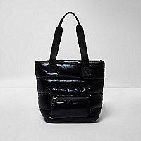 Girls black padded shopper bag