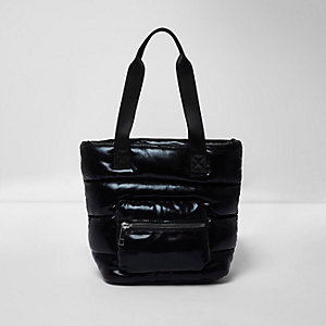 Girls black padded shopper bag