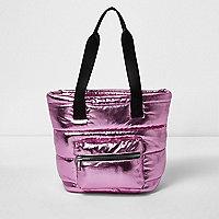 Girls metallic pink padded shopper bag