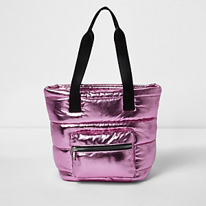 Girls metallic pink padded shopper bag