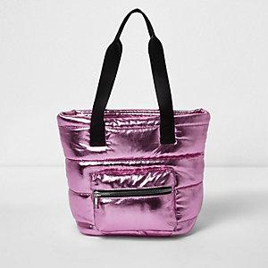 Metallic roze gewatteerde shopper voor meisjes
