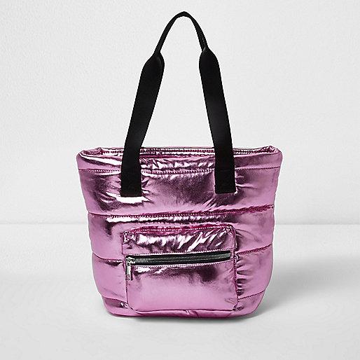 Girls metallic pink padded shopper